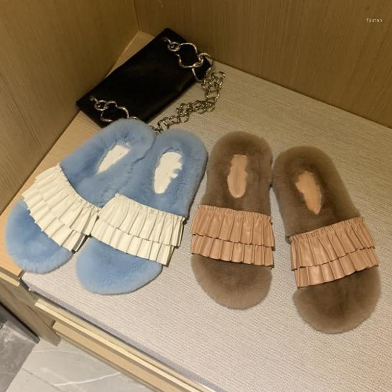 Zapatillas de invierno zapatillas de piel de imitación moda zapatos cálidos mujer resbalón en pisos hembra outsides diapositivas señoras peloteras zapatos mujer zapatos1