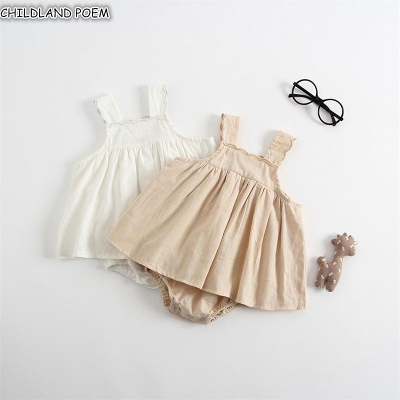 Baby Mamper Dress Girls Summer Newborn Ropa para bebés para niñas 100% algodón blanco Lace sin mangas Bebes Infant Girls Jumpsuit 201127
