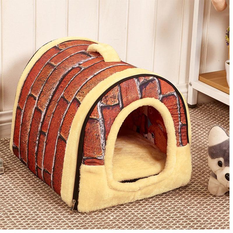 Casa de gato plegable y extraíble Calentamiento de la casa para el gato interior Casa de perro con colchón Puppy Cause Lounger Gray Ropa para PERRO DROP 201124