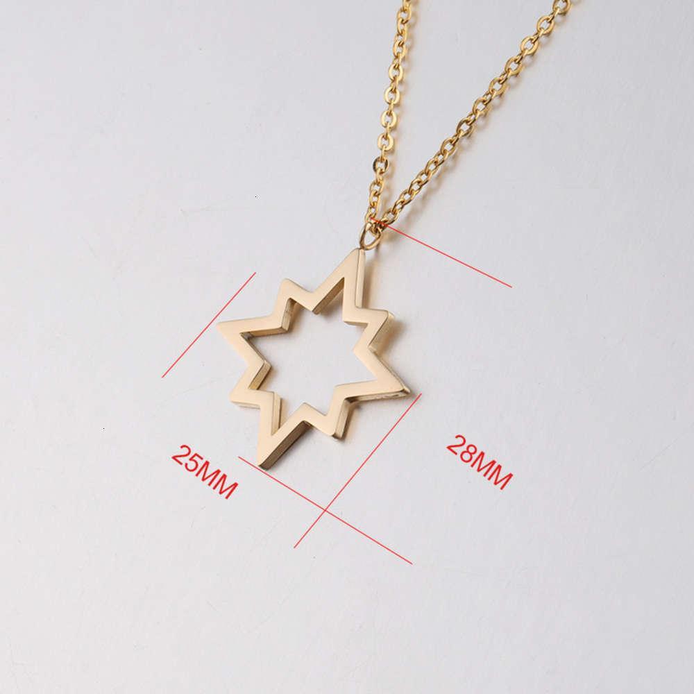 Colgante oro estrella inoxidable acero collar hueco personalidad collar simple 45 cm collar de mujeres