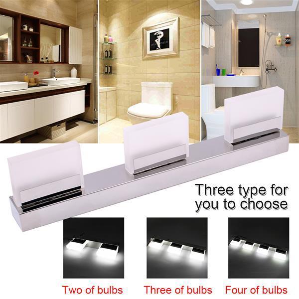 12 W Dört Işıklar Akrilik Duvar Lambası Banyo Lambası Beyaz Işık Gümüş Üst dereceli Malzeme Su Geçirmez Duvar Lambaları Ücretsiz Teslimat