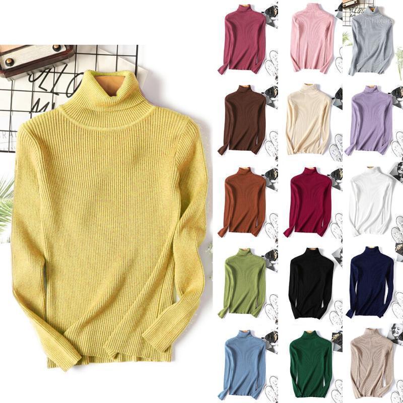 Женские свитеры 2021 осень зима толстый свитер женские вязаные ребристые пуловер с длинным рукавом водолазки тонкий джемпер мягкий теплый тянуть FEMME1