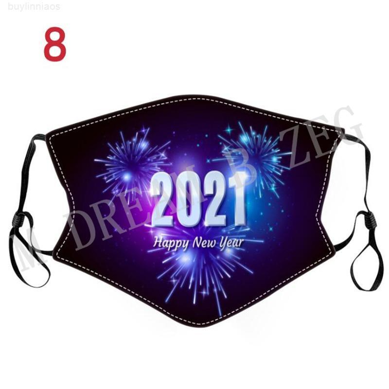 Gesicht Happy Printed New Year Baumwolle 2021 Tuch Designer Maske Erwachsene Staubdichte Mund Waschbare Gesichtsmaske Weihnachtsfeiermasken