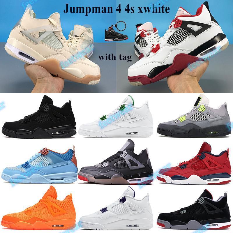 Yüksek Jumpman 4 4s XWhite Basketbol Ayakkabı Siyah Kedi 2020 Erkekler Sneakers Beyaz XSail Siyah Rush Menekşe Metalik Mor Se Neon Eğitmenler
