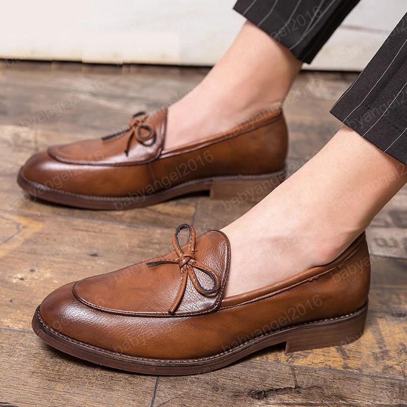 Little Elegant Men Oxford Shoes PU Leather British Casual Suit Shoes Summer Autumn Men Formal Shoes Bowknot