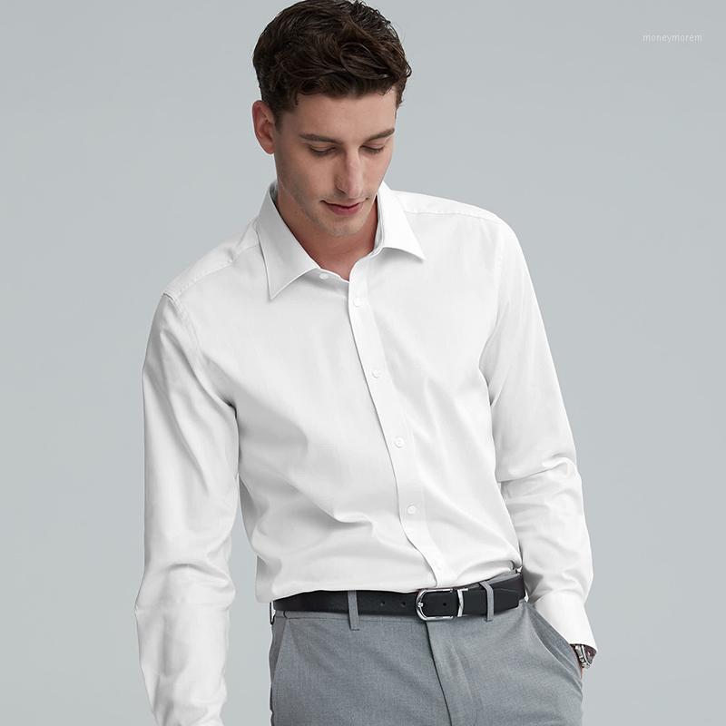 Chemise de robe solide classique masculine masculine couverte Business Formal Business Standard-Fit Bureau de bureau White Shirts1