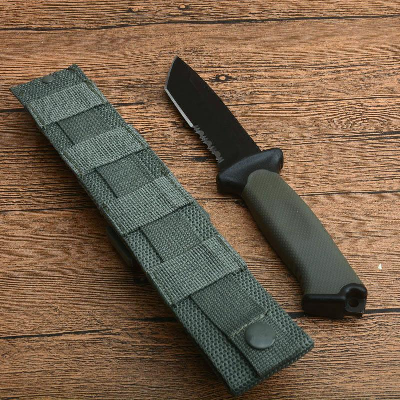 Promotion Outdoor Survival Straight Knife 12C27 Black Coated Tanto Point Blade FRN Handle Fixed Blade Knives With ABS+Nylon Sheath
