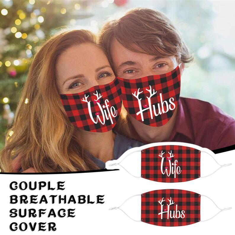 Sevgililer Günü Çiftler Ekose Yüz Maskesi Erkek Kadın Severler Filtre Toz Geçirmez Yüz Maskesi Ile Maskeleri Unisex Nefes Ağız-muffle E120103