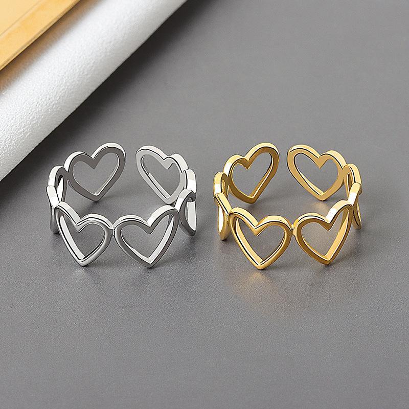 Oro / argento colore scavato a forma di cuore a forma aperta anello di design carino nuovo gioielli di amore per le donne ragazza giovane ragazza regali regolabile
