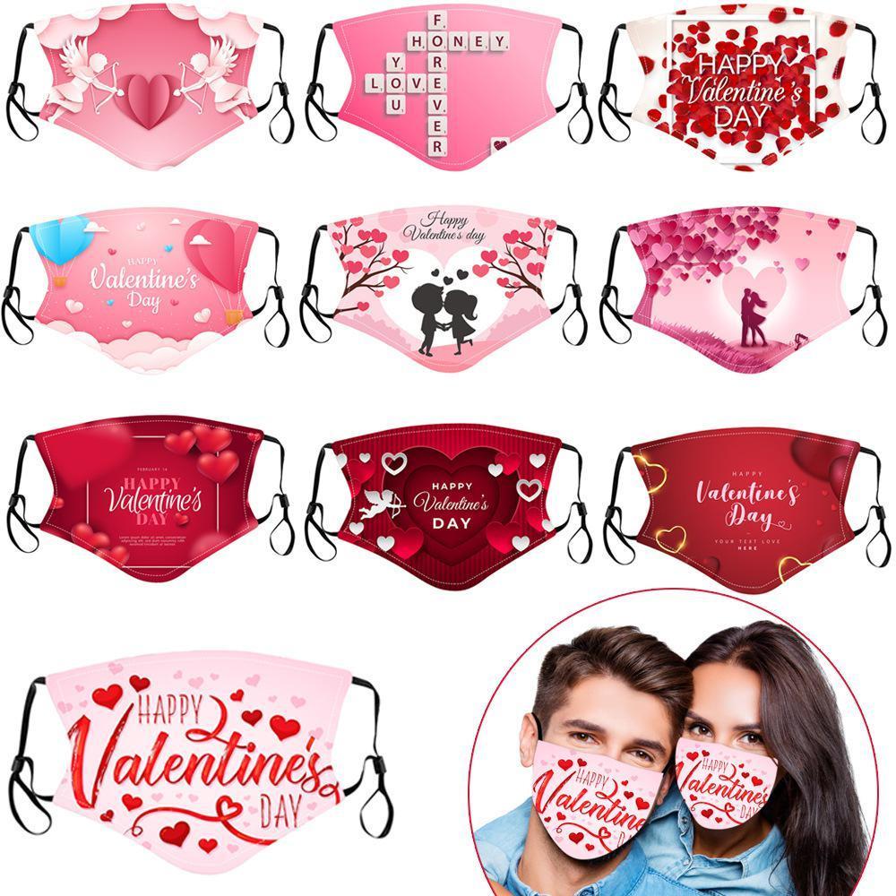 День Святого Валентина Индивидуальные взрослые маски для лица хлопка пылезащитные отпечатки респиратора моющиеся RRREUSABLE INSERT Party Masks EWA2460