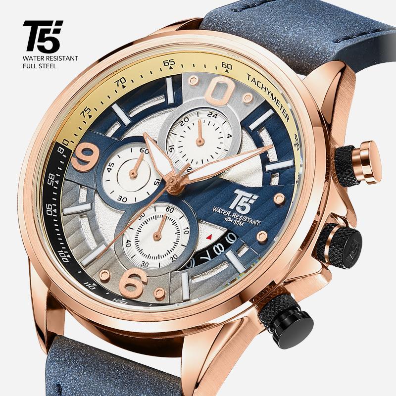 Orologio da uomo in pelle T5, orologio da quarzo, impermeabile, orologio sportivo