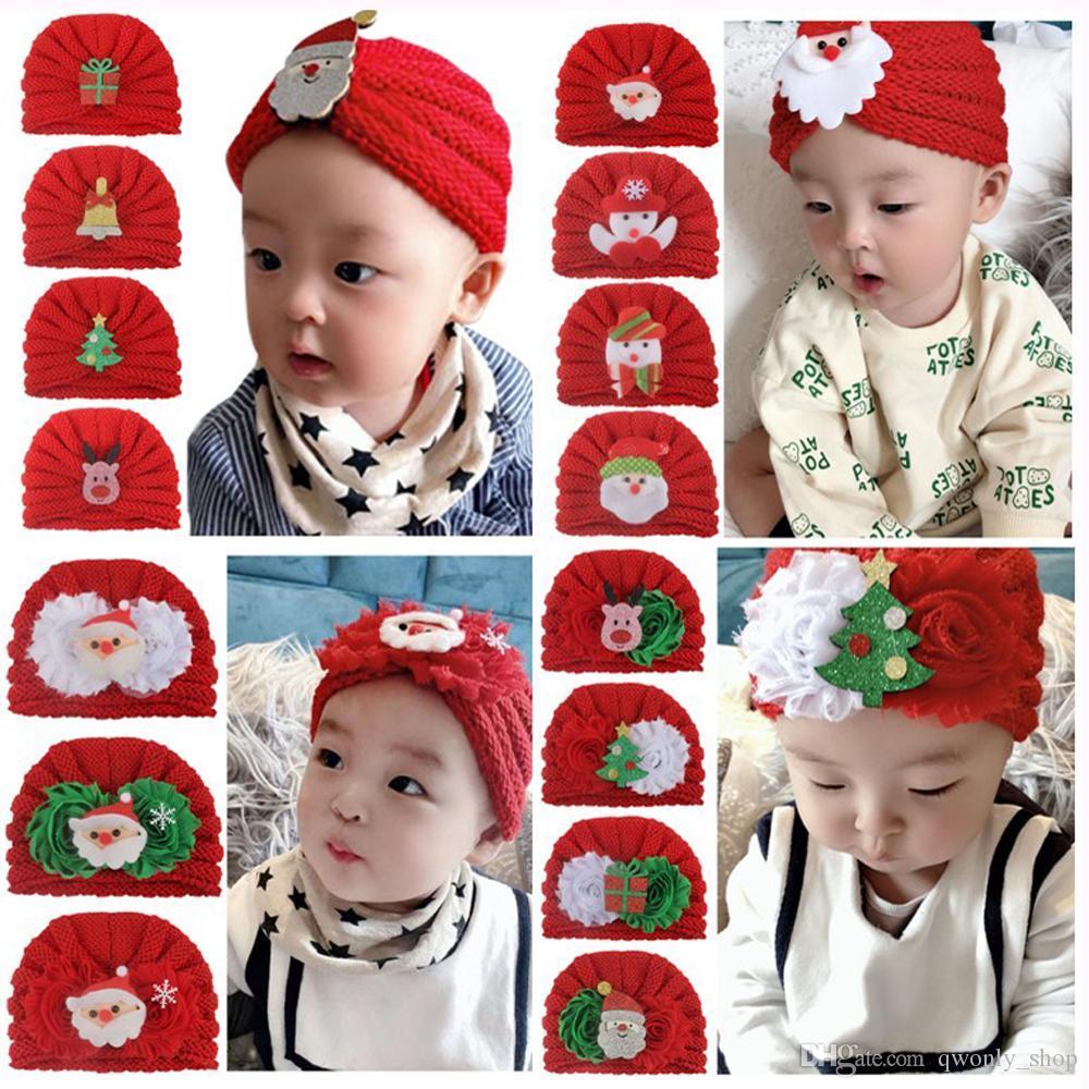 Weihnachten Baby Strick Hüte Kinder Winter Warme Beanie Caps Ins Kleinkind Säuglinge Santa Claus Schneemann Elch Hut für Jungen Mädchen