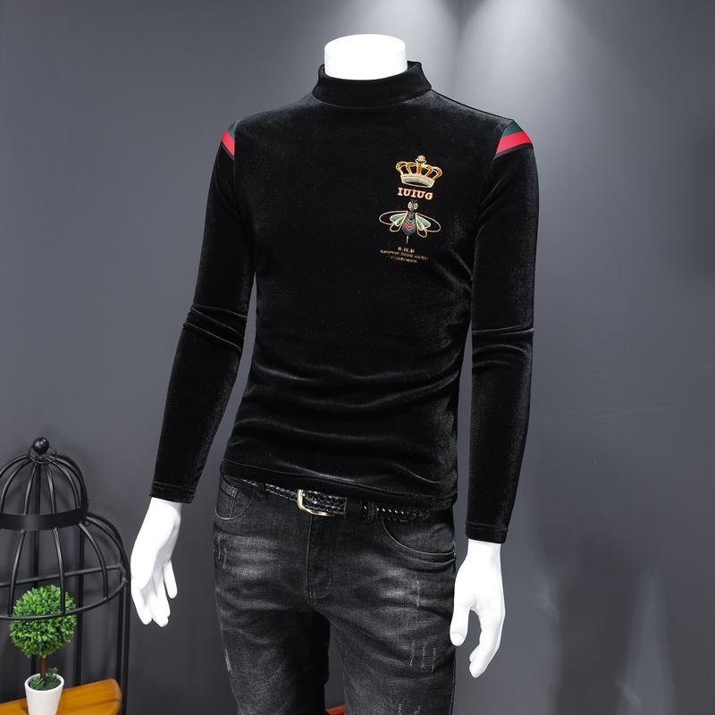 Мужская футболка с длинными рукавами 2020 осенью и зимняя тенденция Trend Trend-Fit Среднего толщиной теплотой золотой бархатный высокий воротник корона маленькая пчела вышивка