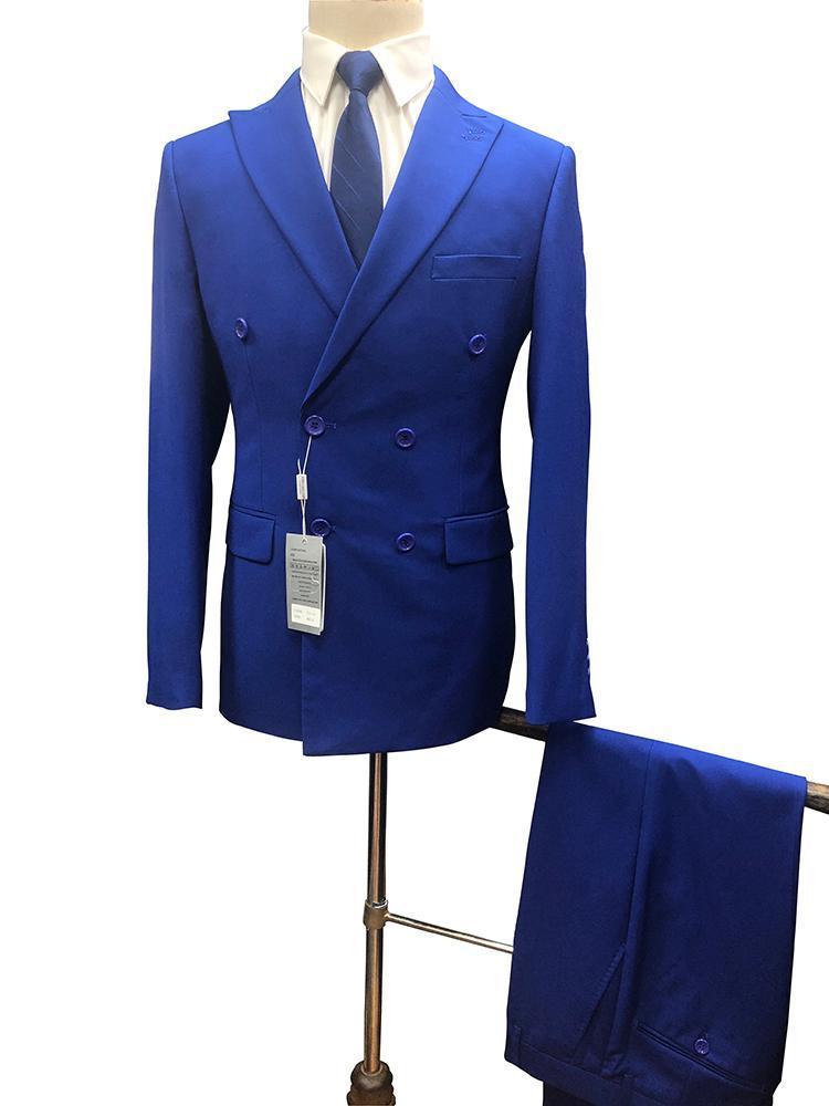 Costumes pour hommes Blazers RoyalBlue pour hommes 2pcs Slim Fit Homme à double boutonnage Spring et automne Arrivées de haute qualité Plus