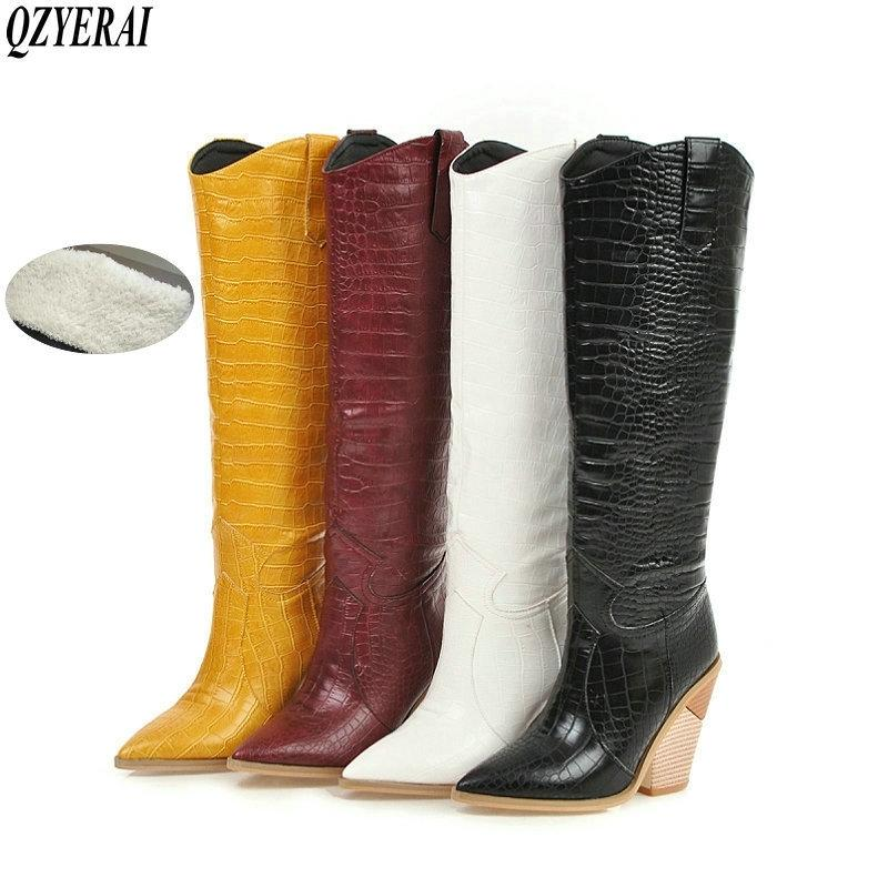 Black Yellow White Knee High Western Cowboy for Women Long Winter Pointed Toe Cowgirl Wedges Motorcycle Boots 201127