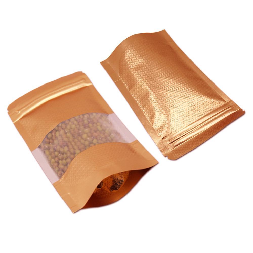 10x15 cm ouro 100 pcs levantam-se Mylar foil Embossed zipper sacos com janela alumínio folha resealable food pack bolsa de selo de calor folha de bagagens