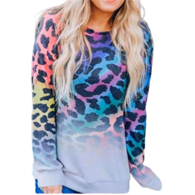Цветные леопардовые женские толстовки мода Trend Trend с длинным рукавом круглые шеи кофты топы дизайнер женские зима новые повседневные свободные пуловерные вершины