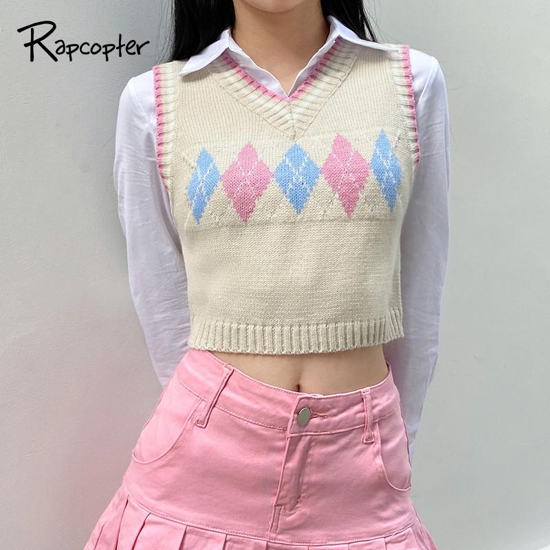 RAPCOPTER Y2K Sweaters Plaid Cached Knitwear Sans Manches Col V tank Tank Tank Preppy Style Pullovers Top Top automne Femmes