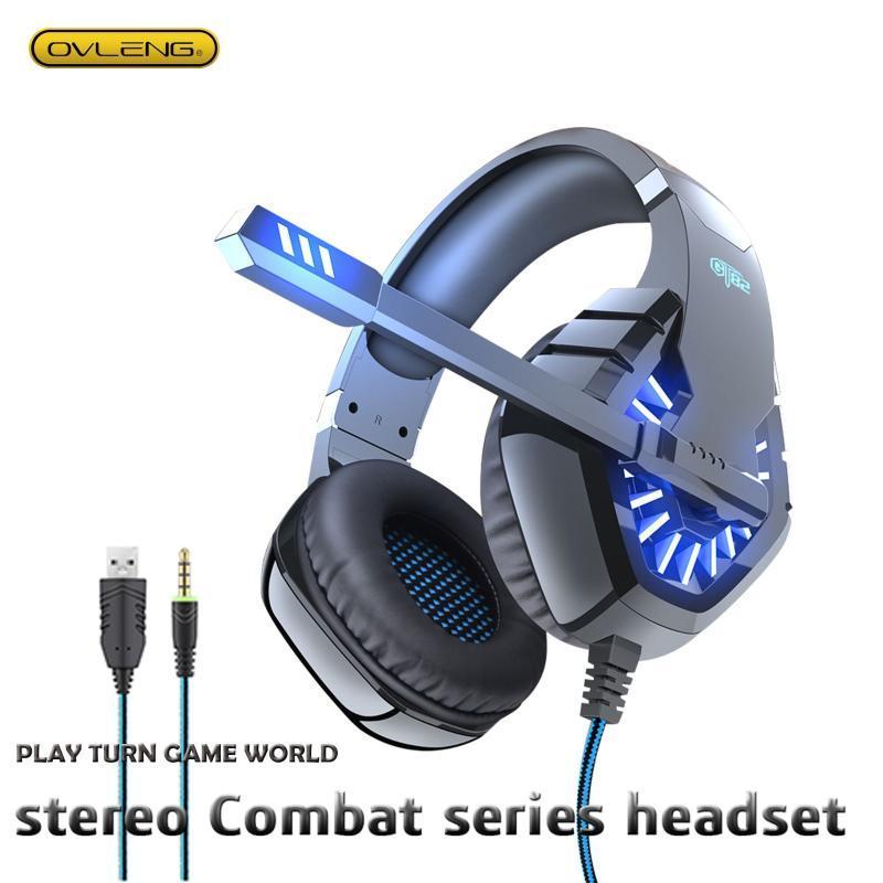GT82 fones de ouvido estéreo fone de ouvido com microfone computador adequado ps4 móvel ovleng usb + 3,5mm redução de ruído baixo sotaque baixo