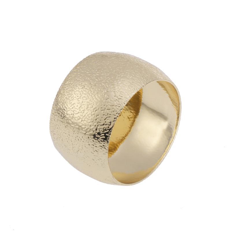 Anillo de servilleta decorativa Forma redonda Tenedor de servilleta de metal Fiesta de boda Decoración de la mesa de la cena (de forma redonda dorada)