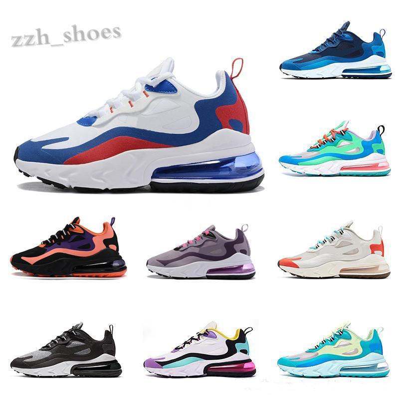 nike air max 270 react 27C Erkekler Yumuşak Nefes Ayakkabı Reaksiyonu Elektro Mavi Yeşil Boş Parlak Menekşe Bauhaus Optik Eğitmenler Koşu Spor Sneakers PR07