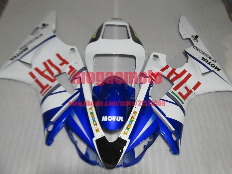 Nuovi kit di carenatura del motociclo ABS Facriture per stampi ad iniezione per Yamaha YZF R1 98 99 Kit per il corpo YZFR1 1998 1999 Blu Bianco Blu Fiat Bodywork