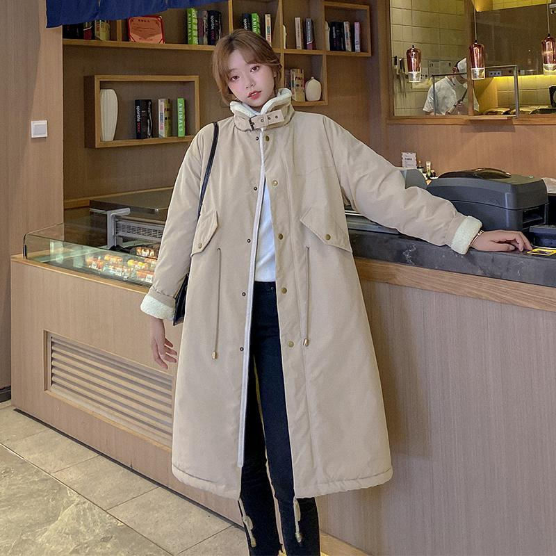 Winter Jacket Women Casual Long Parka Coat Thick Cotton Coat Solid Color Warm Loose Jackets Parkas 201211