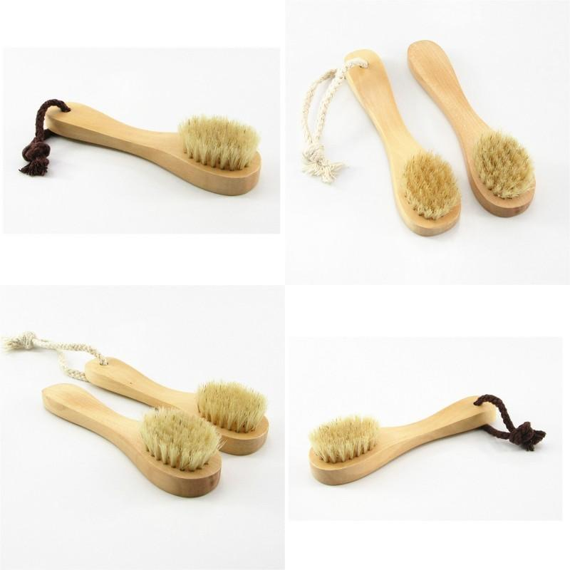 Escova de limpeza de face pincel de madeira suave esporte natural esfoliação facial limpa esfregão seco escovas de alta qualidade 3cg g2