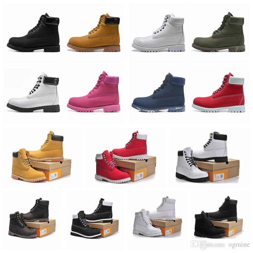 2021 timber bottes de pluie femm men boots designer mens womens leather shoes top quality Ankle winter boot cowboy yellow blue black pink hiking work 36-46