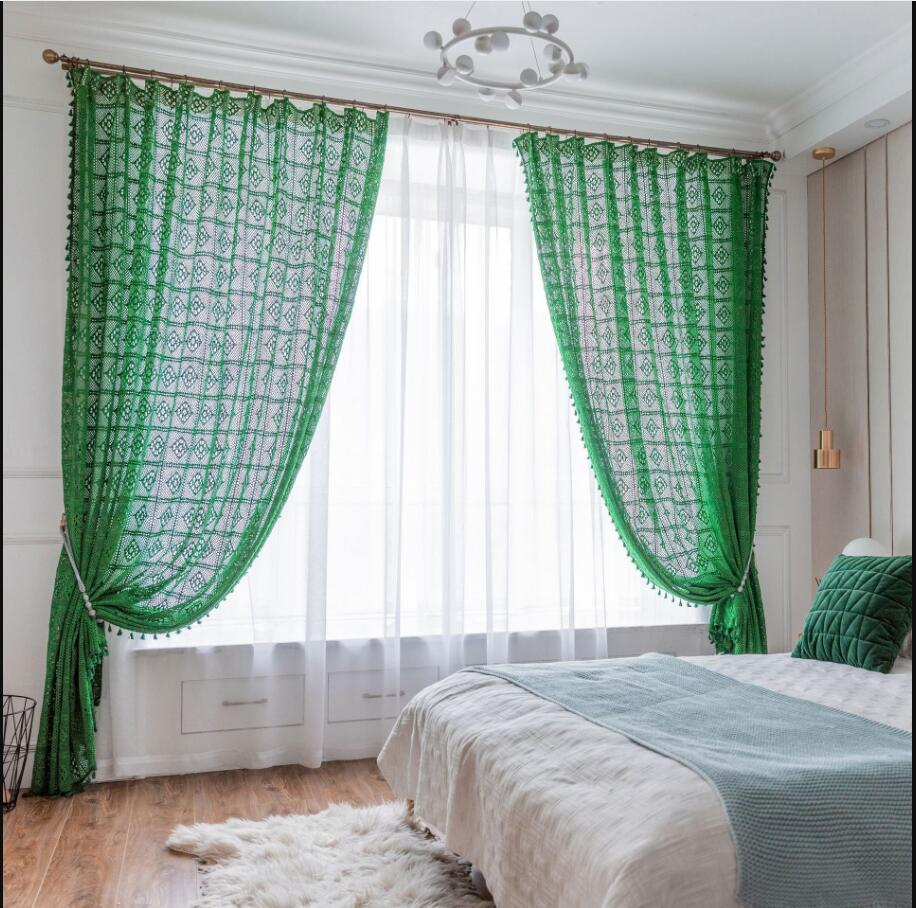 Crochet curtain cotton thread black green retro American country hollowed out woven fabric floor screen window can be customized