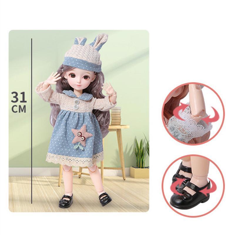 Nuevo 12 pulgadas 22 Movables Juntas BJD Muñeca 31 cm 1/6 Maquillaje Viste Muñecas de globo azul marrón lindo con vestido de moda para niñas Toy 201203