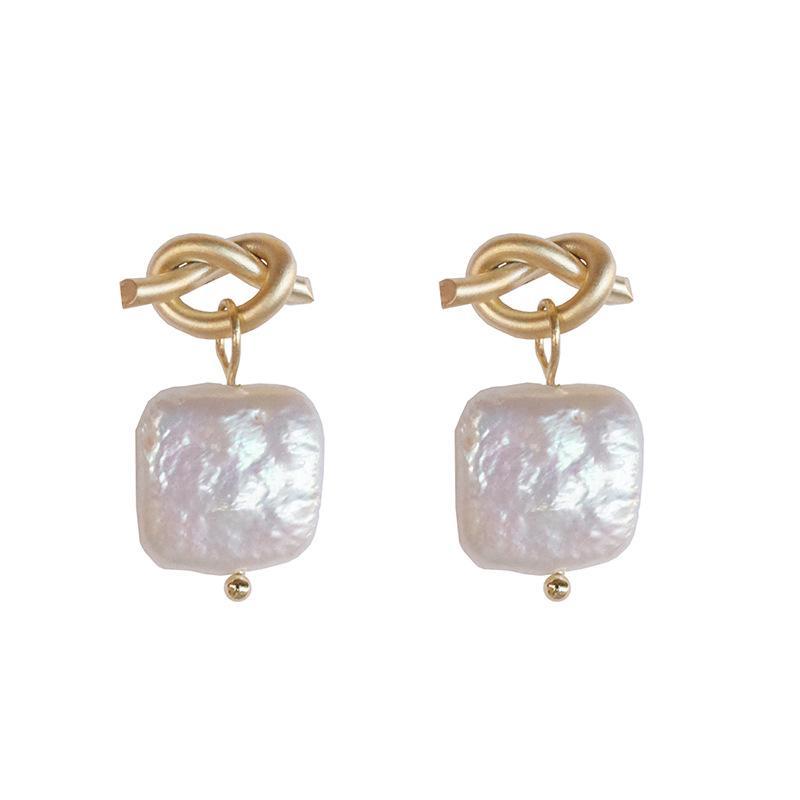 Corbata de personalidad un nudo perla 925 sterling silver damas stud pendientes promoción joyería para las mujeres regalo de cumpleaños