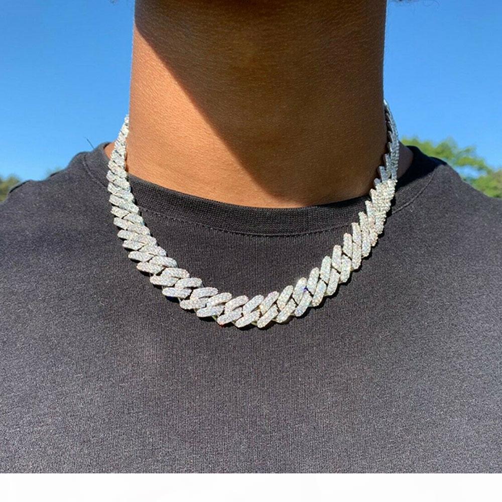 14mm Eurer Kubaner Link Zinken Kette Halskette 14k Weißgold Plattform 2 Reihen Diamant Zirkonia Schmuck 16Inch-24inch Kubanische Kette