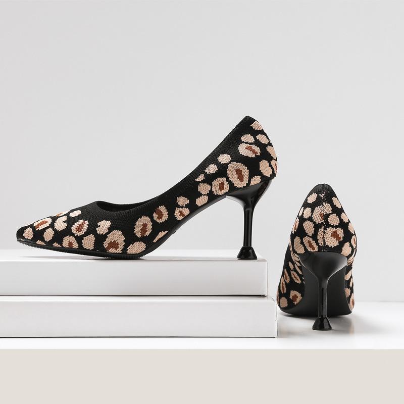 Горячая Sale103.32-Mini 2019 Одиночный поверхностный устьевый устья Одиночные туфли на высоком каблуке Прекрасно высокие с леопардовым принтом обуви