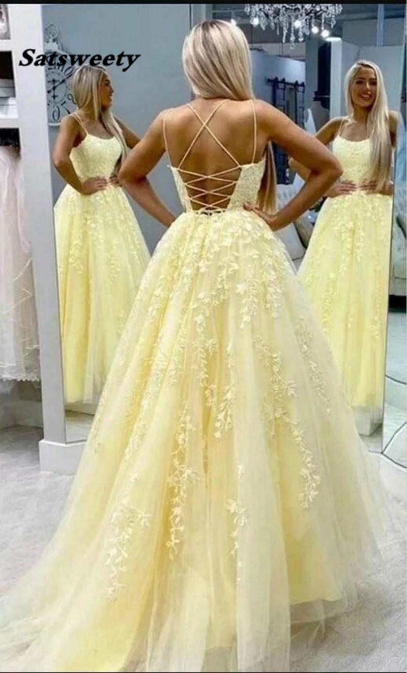 Ladies' Lace Appliques Prom Dresses Long Spaghetti Straps Lace-up Back Sleeveless Formal Evening Party Gowns Vestido De Festa