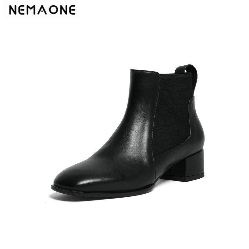 Botas Nemaone Mujeres Negro Marrón Elegante Tobillo Genuino Cuero Alto Tacón Alto Vestido Zapatos de fiesta Tamaño de la mujer 42 43 44