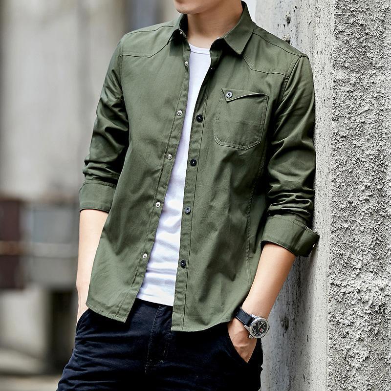 Erkek Casual Gömlek Pamuk Gömlek 2021 Yeşil Slim Fit ile Cep Uzun Kollu Vintage Ceket Streetwear Bırak