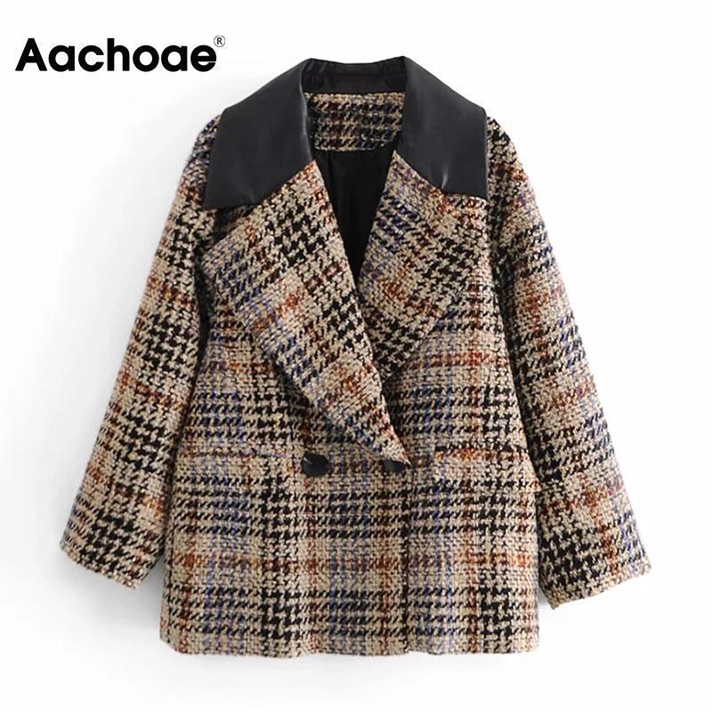 Aachoe Chic Plaid Patchwork Blazer Frauen Zweireiher Elegante Mantel Outwear gekerbte Hals Dame Fashion Blazer Anzug Femme Veste