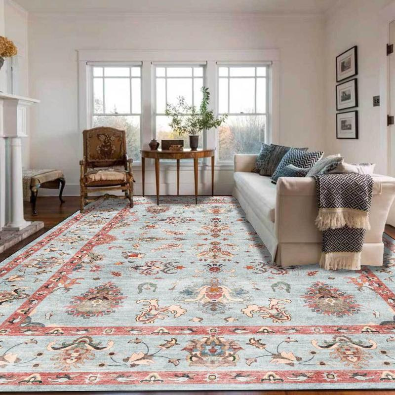 Carpets American Country Style Geometric Flower Printed Living Room Table Area Rugs Kitchen Bathroom Bedroom Non-Slip Floor Mat