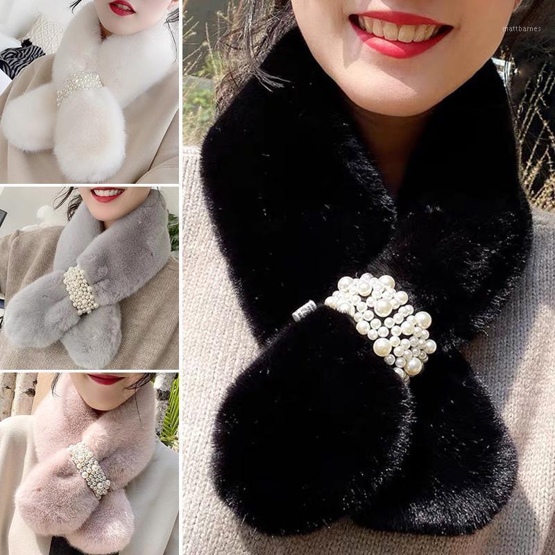 Femmes hiver chaud écharpe perle fausse fourrure peluche collante collier écharpe châle solide élégant épaississant filles