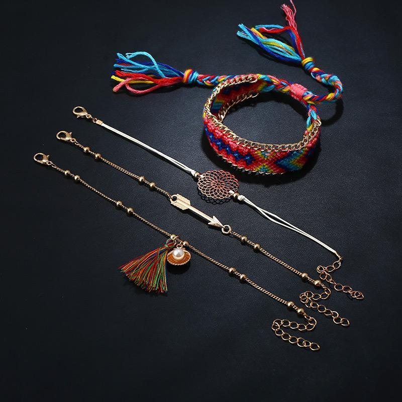 8Seasons Böhmen Perlen Seil Armbänder Set Gold Farbe Multicolor Quaste Blume Ananas Strass Frauen Juwel 1 Set (4 Stück)