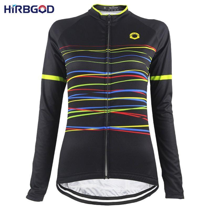 Hirbgod Black Manga Longa Mulheres Ciclismo Jerseys Top Listras de Cor Impressão Respirável MTB Bike Wears Ropa Ciclismo, NR219