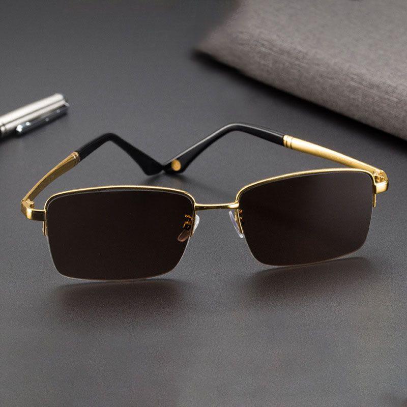 Оптовые стекла Солнцезащитные очки Мужчины Винтажные Полупронские Солнцезащитные очки для мужчин Кристаллические Линзы Солнцезащитные очки Коричневые Очки Очки Человек Очки Гафас Bwnoe