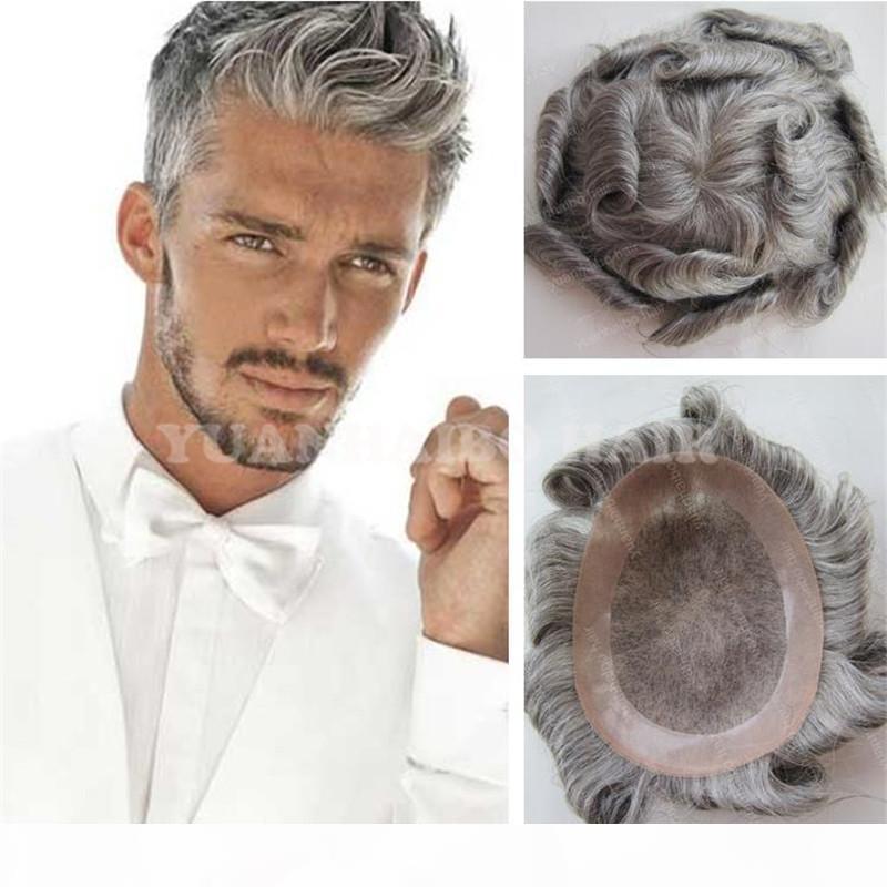 PU Avustralya ile Dantel Toupee Erkek Peruk 1B 50 Erkekler Için Beyaz Saç Hint Virgin İnsan Saç Replama Ücretsiz Kargo