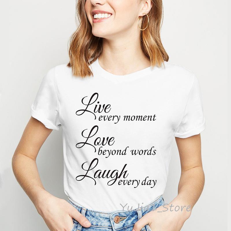 Женская рубашка прямая любовь смеется цитаты футболки буквы футболки женщины 90s Tumblr одежда Haut Femme летняя уличная белая футболка