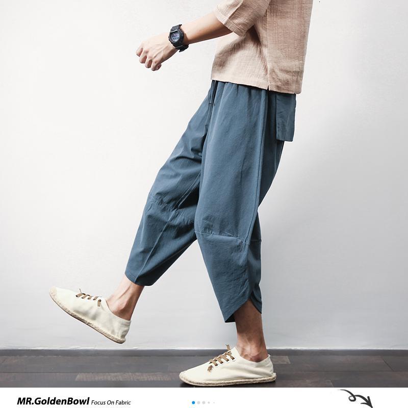 Шиницизм магазин хлопчатобумажные льняные мужские гарем брюки летние мужские повседневные брюки с длиной и длиной тележки твердые большие карманные штаны брюки 201027