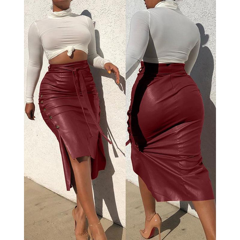 Mujeres Sexy Vendaje PU Cuero Falda Falda Moda Sólido Faux Cuero Botón Sigo Falda Casual Bodycon Split Midi Lápiz Faldas