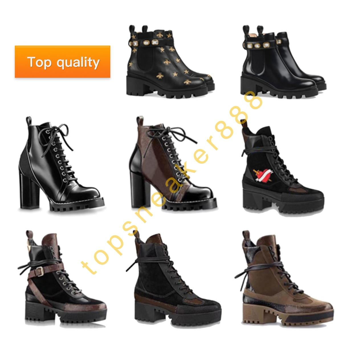 أعلى جودة النساء مارتينز الأحذية الأزياء أحذية الحائز الحائزات الحب السهم جلد حقيقي أسود أبيض رمادي 5 سنتيمتر كعب غلاف ميداليات