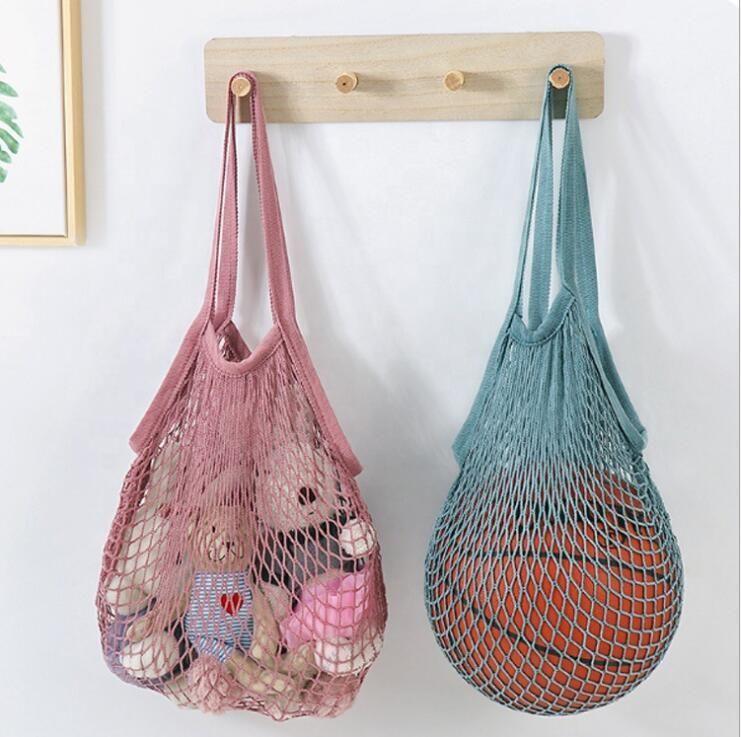 Alışveriş Çantaları Çanta Müşteri Tote Mesh Net Dokuma Pamuk Çanta Dize Kullanımlık Meyve Saklama Torbaları Çanta Kullanımlık Ev Saklama Çantası LSKA245