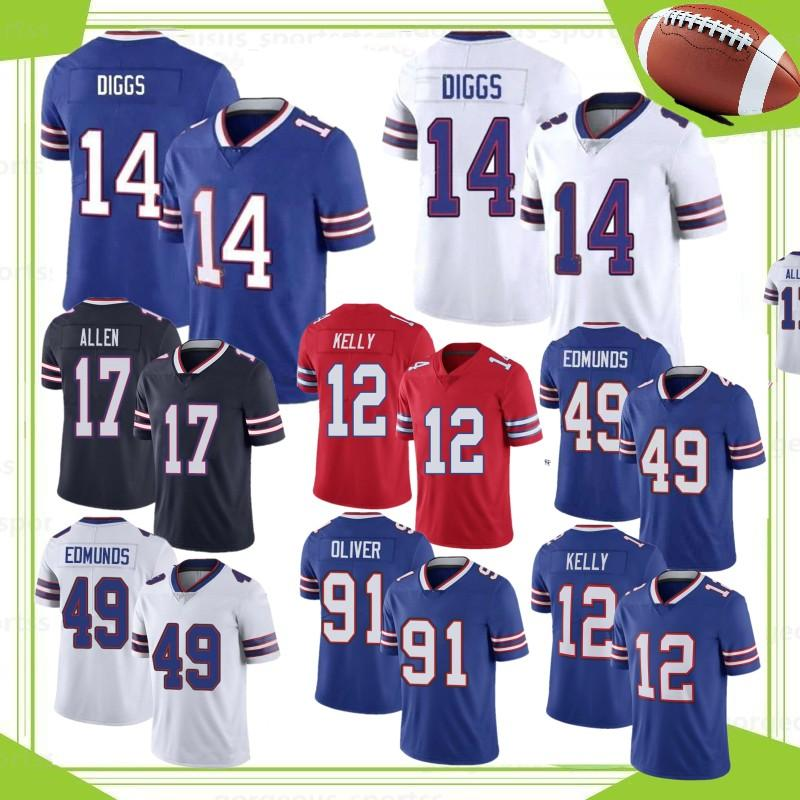NCAA 14 Stefon Diggs 17 Josh Allen Homens Futebol Jersey 27 Tre'Davious White 49 Tremaine Edmunds 91 Oliver Jim Kelly Hot Sale